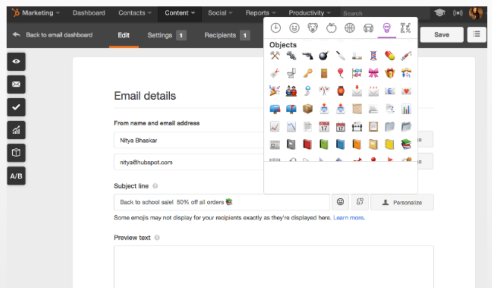 emoji icons used by Hubspot users in brisbane